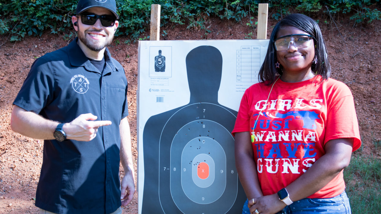 woman after passing the concealed carry class with Triangle Self-Defense Training in Durham North Carolina