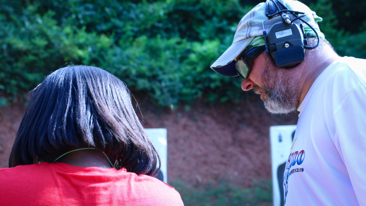 Firearms instructors at Triangle Self-Defense Training teaching female students at the Concealed Carry class