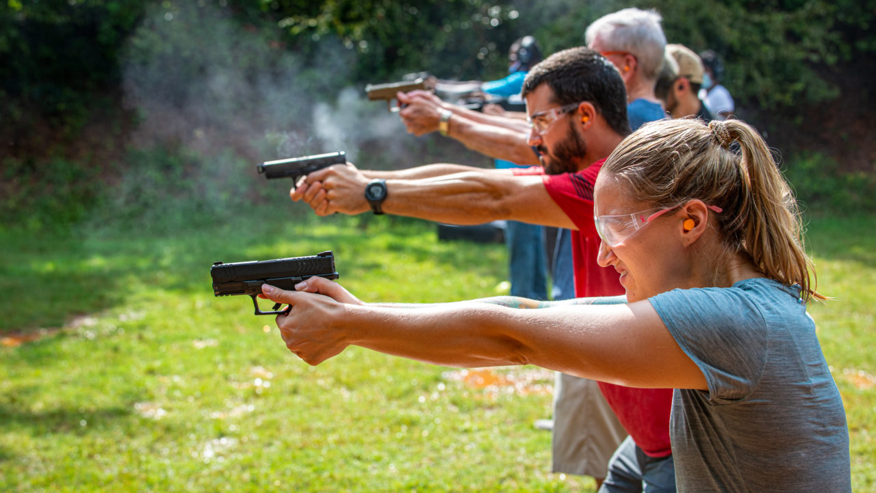 Shooting qualification test at Triangle Self-Defense Training Concealed Carry class