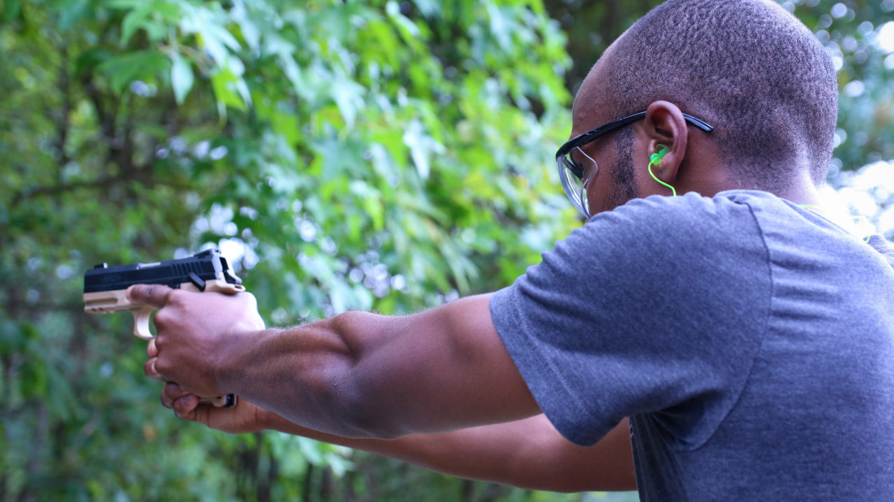 Concealed carry students practicing firearms safety at Triangle Self-defense Training