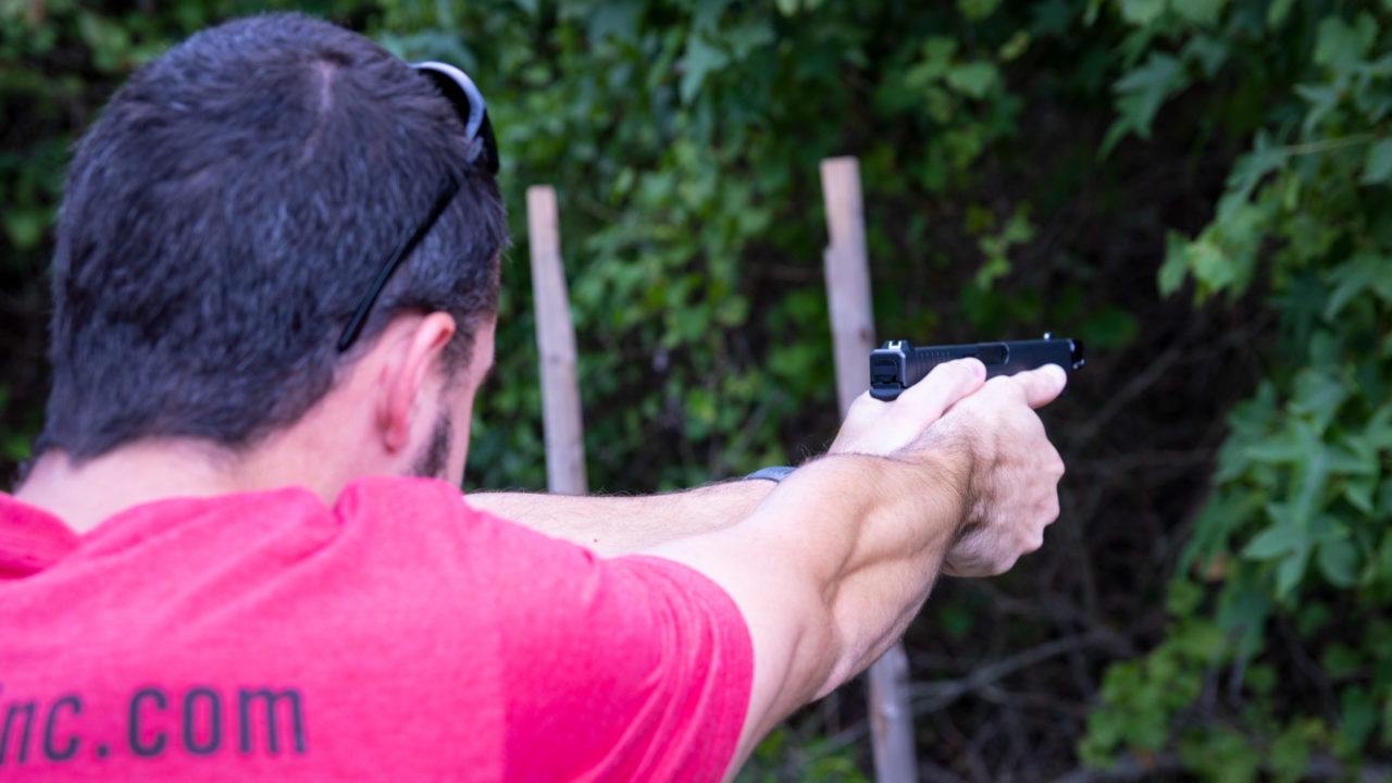 Concealed carry students practicing firearms safety in Durham, North Carolina