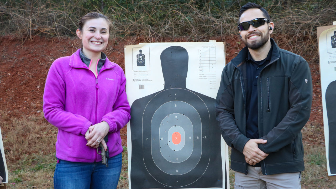 Concealed carry class students having fun after passing the course with Triangle Self-Defense Training