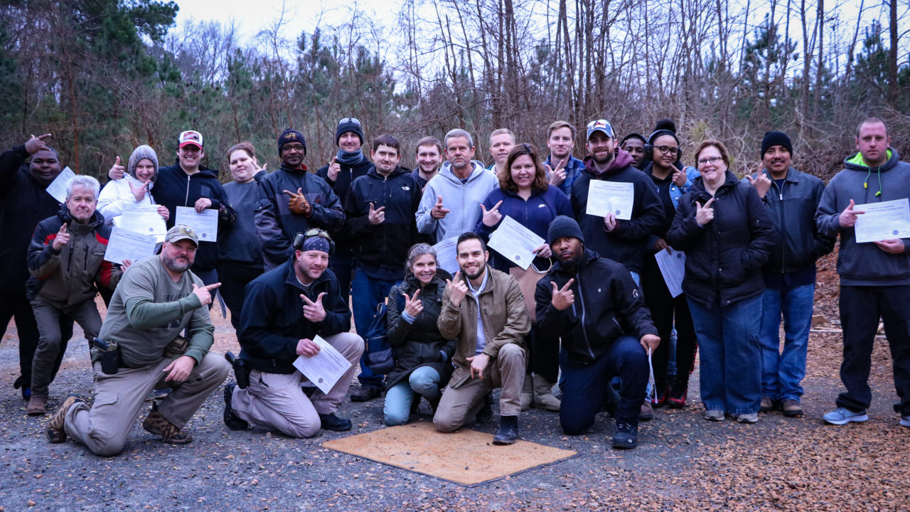 New shooters passing the concealed carry class with Triangle Self Defense Training