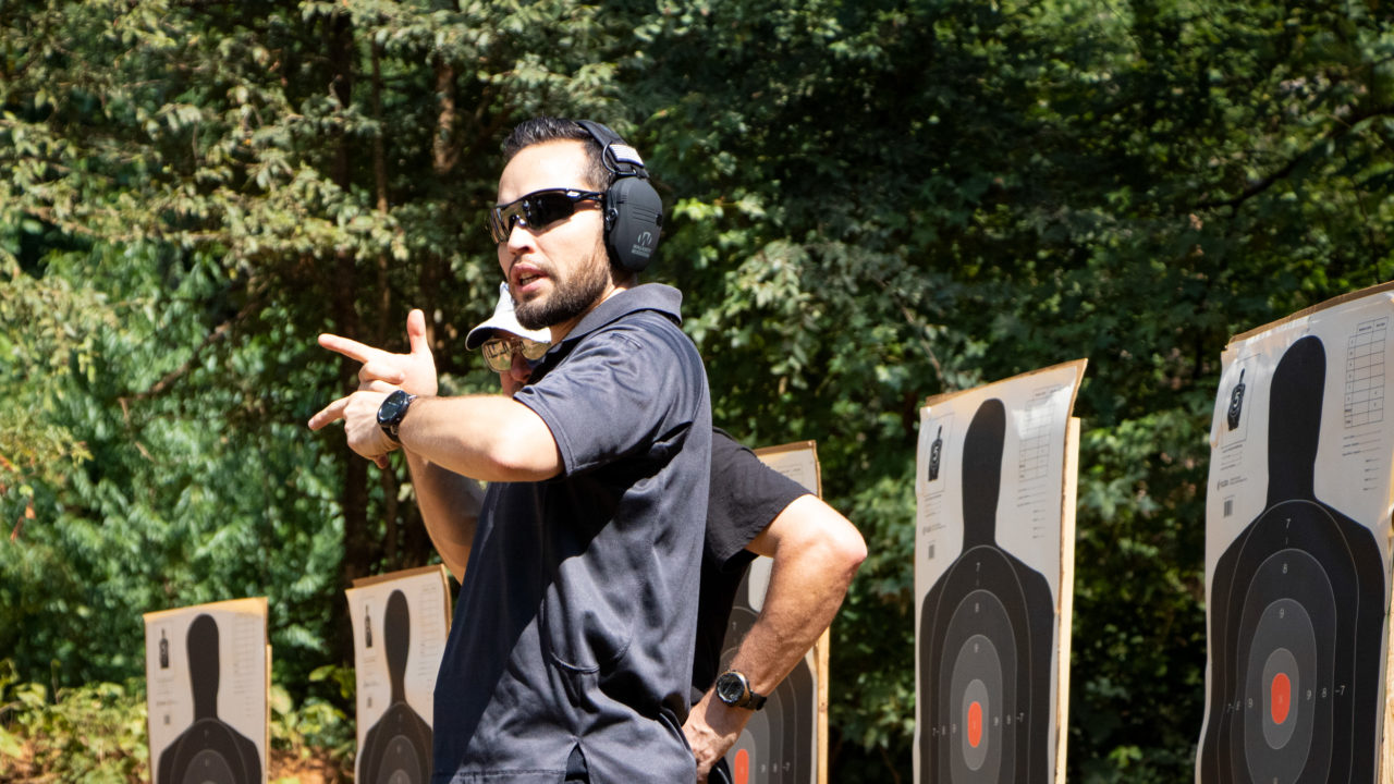 Instructors teaching shooting fundamentals at the North Carolina Concealed Carry class