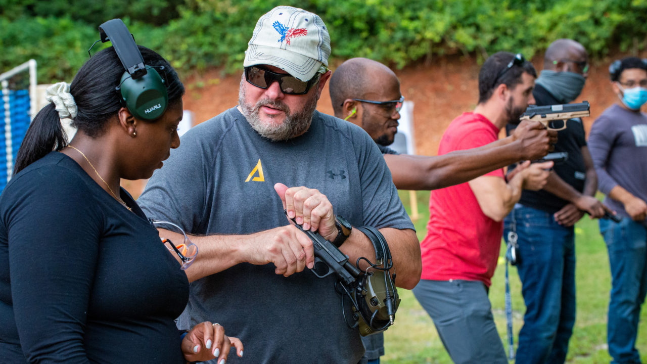 Triangle Self-Defense Training instructor helps concealed carry women shooters